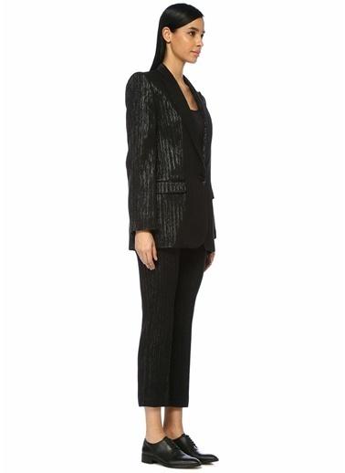 Etoile Isabel Marant Metalik Çizgili Crop Pantolon Siyah
